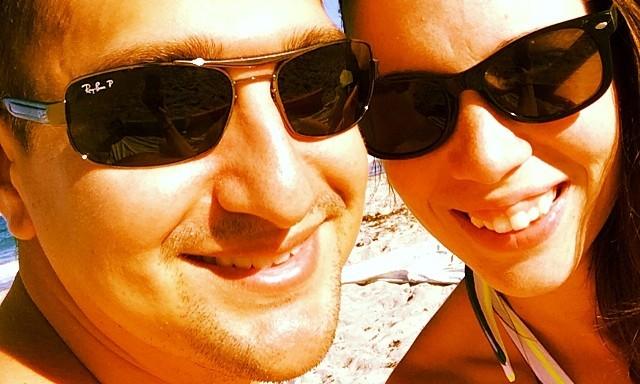 thismomhere enjoying the beach with husband